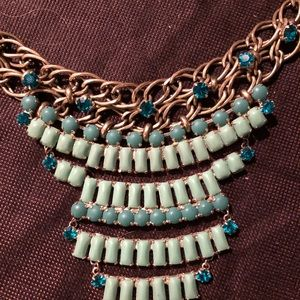 Vintage Fossil Necklace Layer Blue Beads +